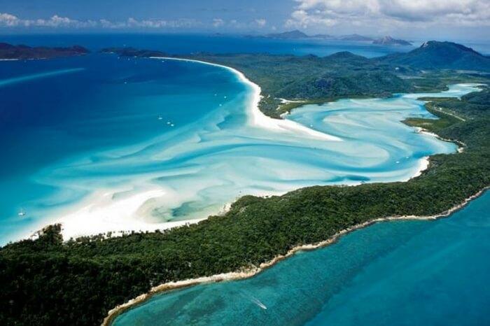Top view of Hamilton Island in Australia