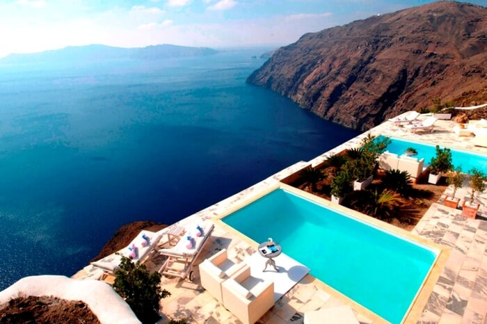 A view of infinity pool in Csky Hotel in Santorini in Greece