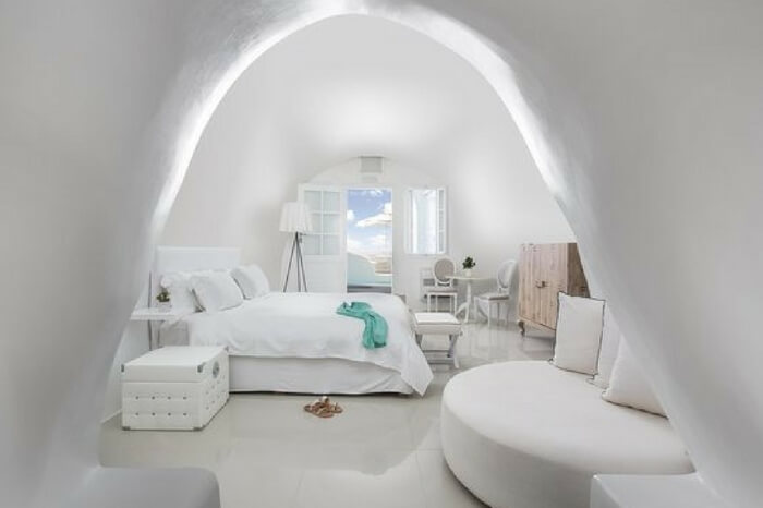 A well laid out suit of Kirini Suites & Spa in Santorini in Greece