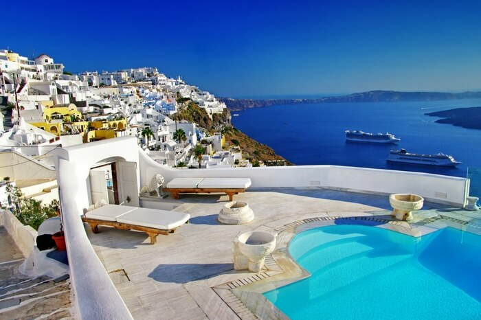 A view of honeymoon resort in Santorini in Greece