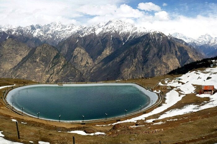 Top view of Auli Artificial Lake on a beautiful day