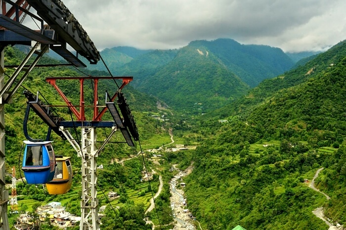 View of Doon Valley from the top of a cable car ride
