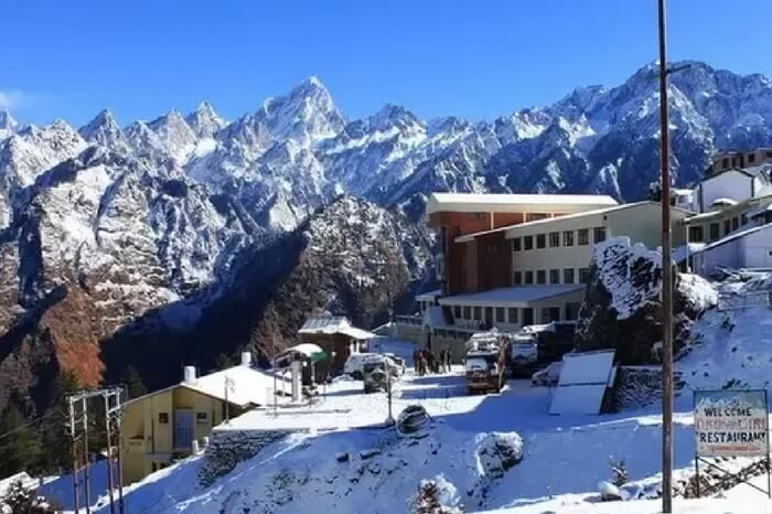 Picture of one of the resorts in Auli fresh after snowfall