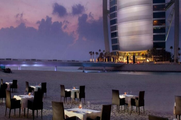 Dining laid out at Villa Beach in Dubai