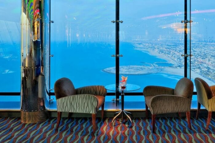 A view from the Skyview Bar in Burj Al Arab in Dubai