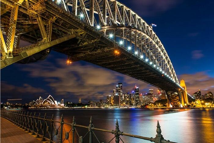 Bottom view of Sydney Harbour in Australia