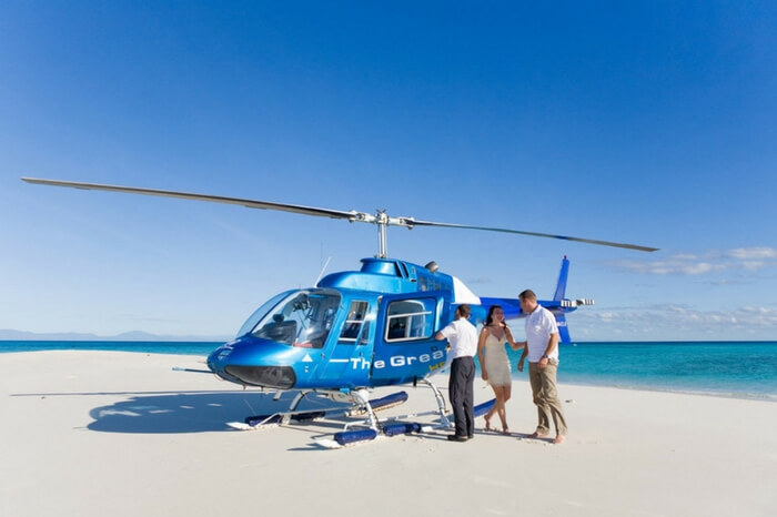Couple going for a helicopter ride during honeymoon in Australia