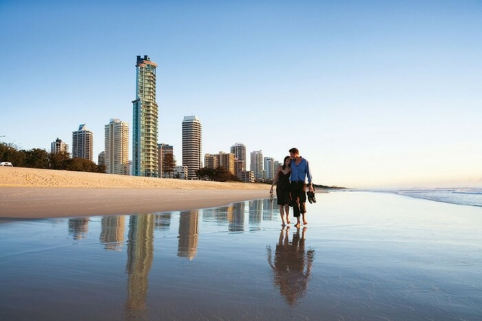 Couple spending romantic moments by the beach in Australia