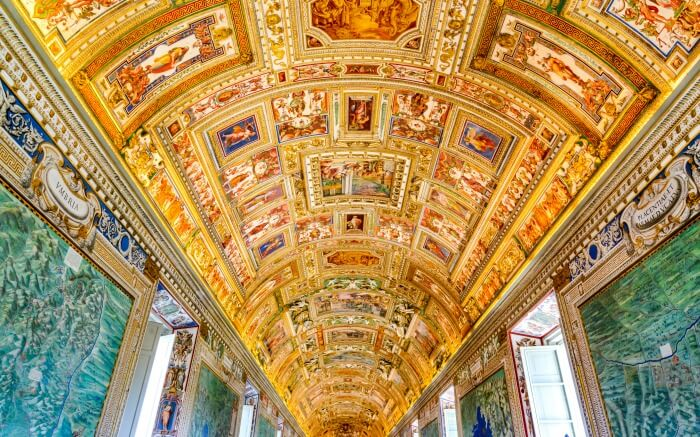 Ornated interior of Vatican Museum in Italy