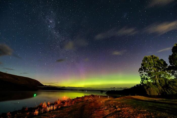 A shot of the Aurora Australis at Lake Pedder in Tasmania