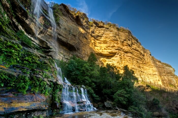 Glorious view of waterfall cascading Blue Mountains in New South Wales
