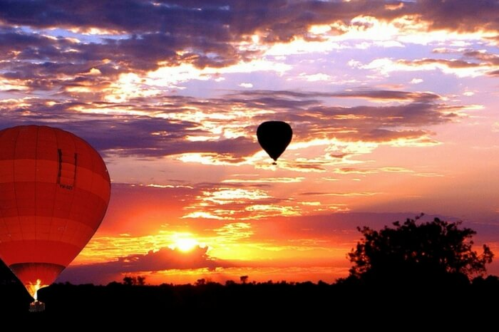 Hot air balloon ride at sunset in Australia