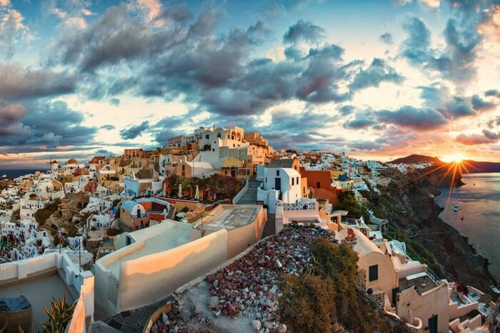 Oia city at sunrise in Greece
