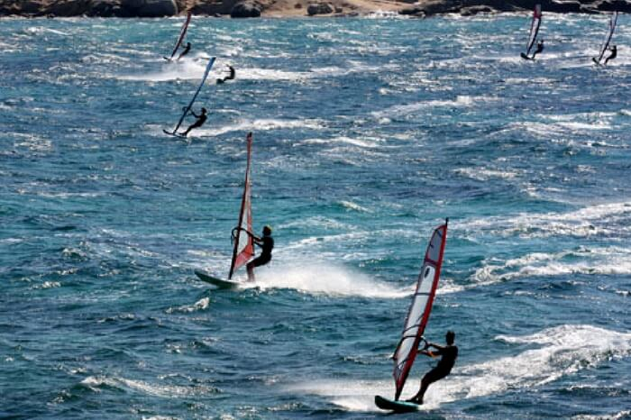 Kite surfing in Naxos in Greece