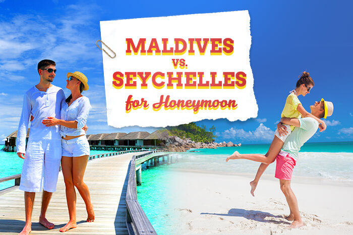 A banner ad of Maldives vs Seychelles for honeymoon