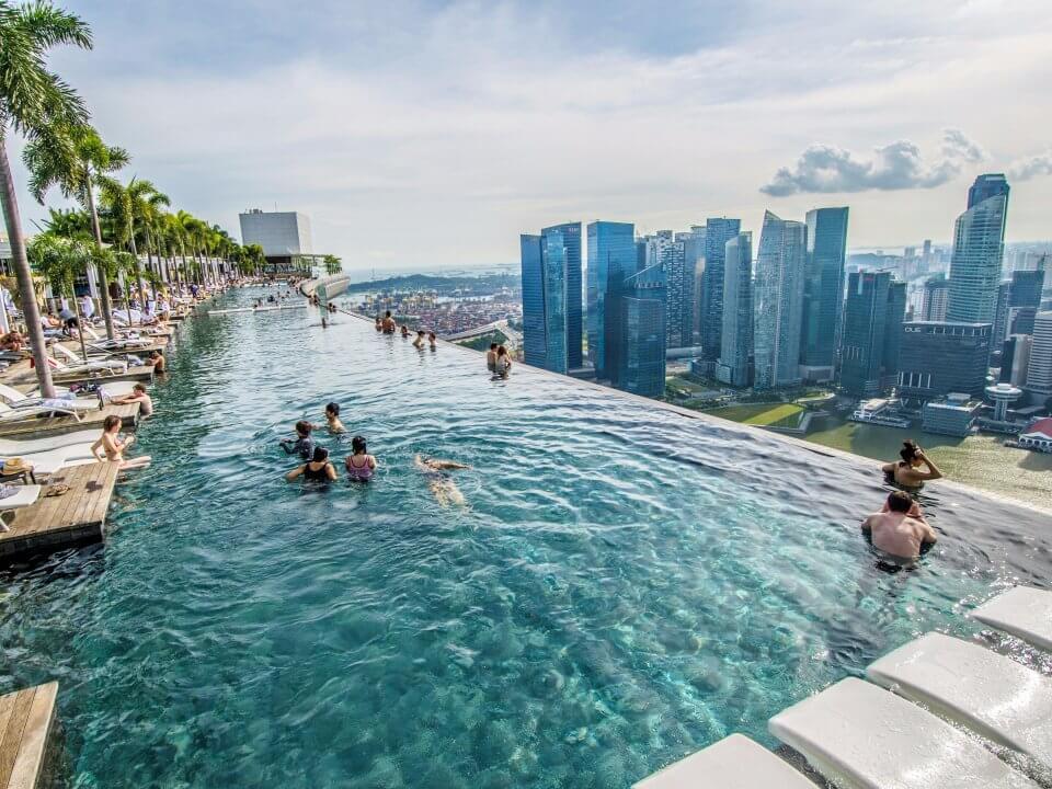people in infinity pool