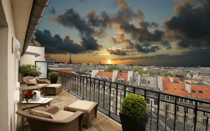 Sitting area of Hotel Pont Royal - one of the most romantic hotels in Paris