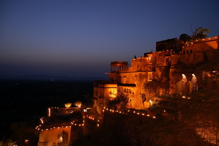 A night shot of the Neemrana Fort Palace in Alwar