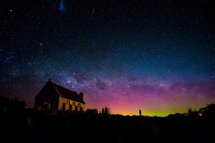 Australis aurora at the Church of the Good Shepherd near Lake Tekapo in New Zealand