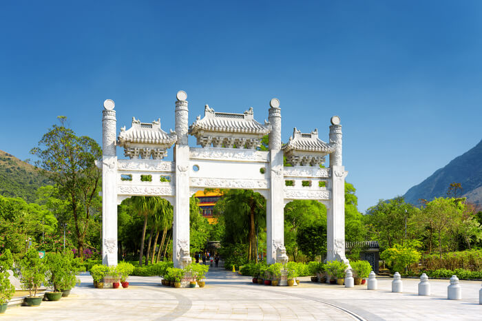 Chinese style gate of Po Lin monastery