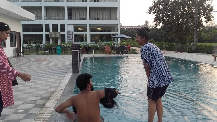 enjoying pool