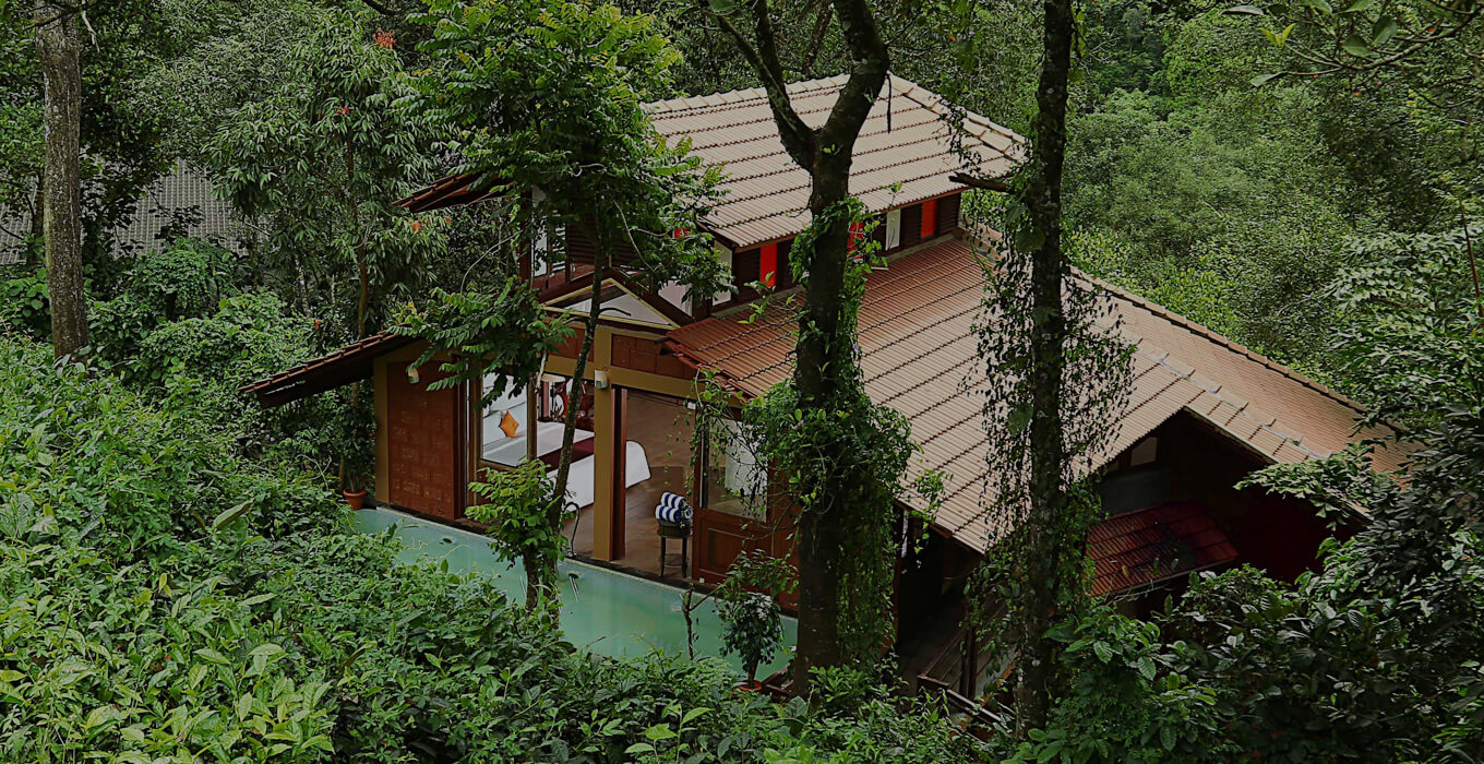 Top view of one of the honeymoon suites of Vythiri Village Resort in Wayanad