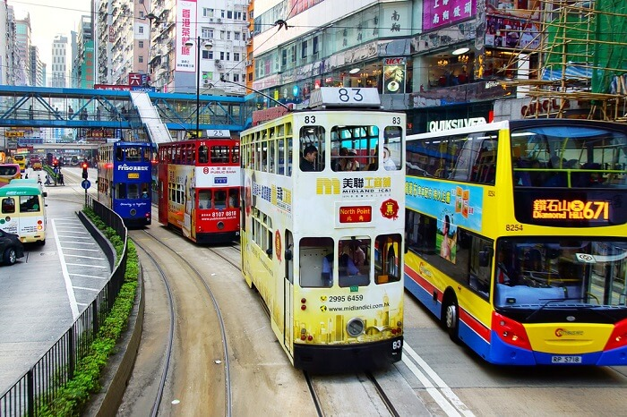 trams in Hong Kong