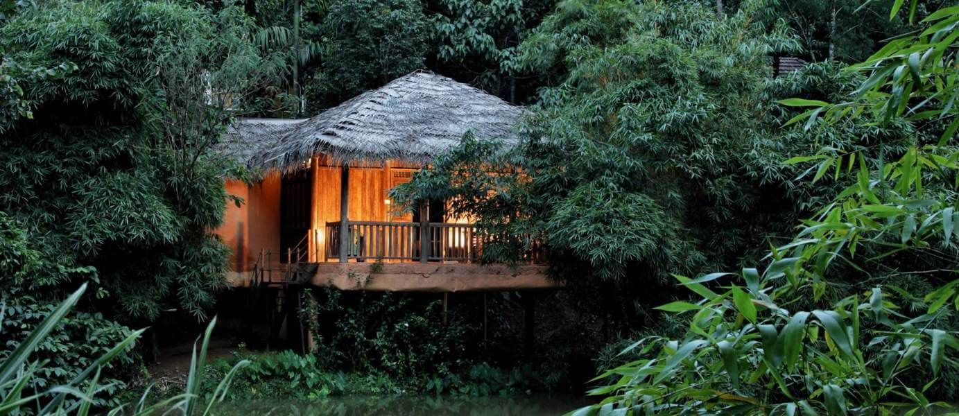 A honeymoon suite of Banasura Resorts tucked in the greenery in Wayanad