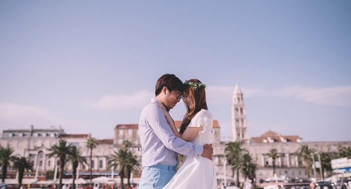 romantic couple in Split, Croatia