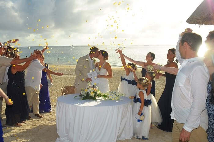 A wedding ceremony at Trou Aux Biches Beachcomber in Mauritius