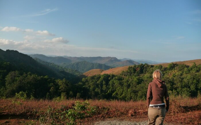 A woman looking at the landscape of Periyar National Parkss