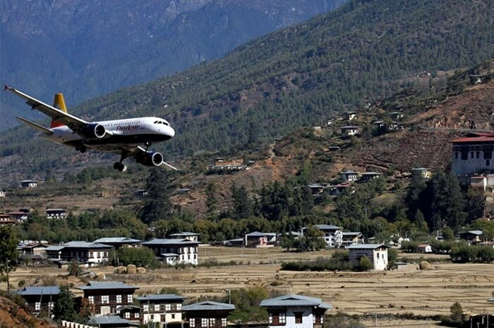 Plane nearing towards an airport in India