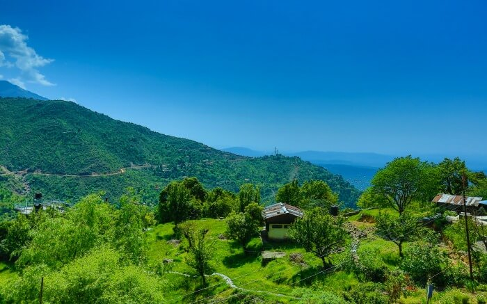 Blue sky and green landscape of Dharamshala
