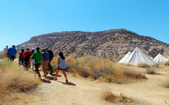 a group of travelers hiking in Dana Biosphere Reserve