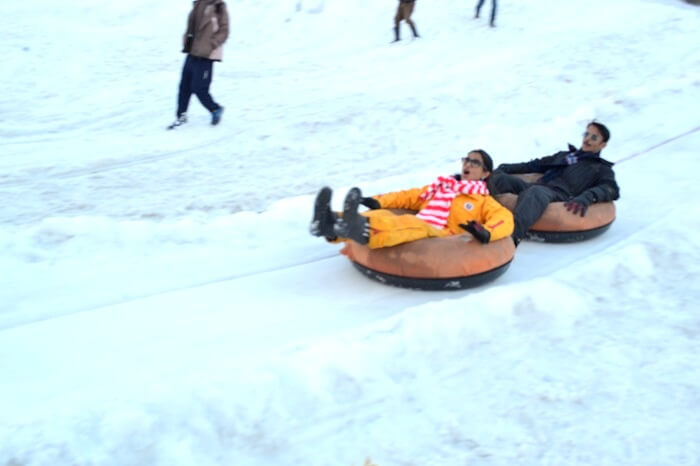 having fun while sliding down a slope