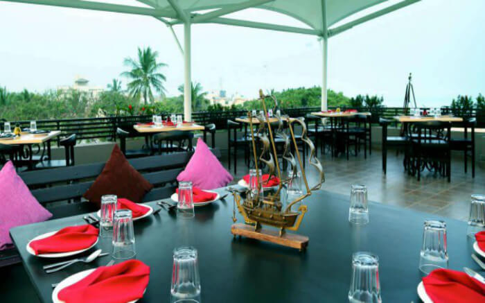 Fine dining arrangement on a rooftop at Hola restaurant in Besant Nagar in Chennai