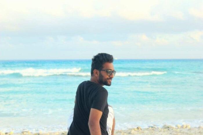 man on maldives beach