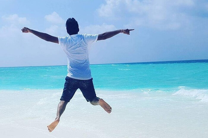 jumping man maldives beach