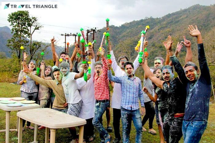celebrating holi with friends
