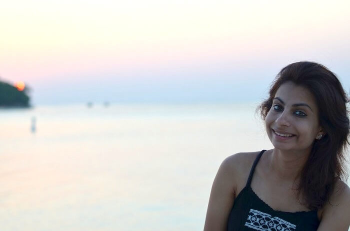hemant's wife enjoying the positive maldives vibe