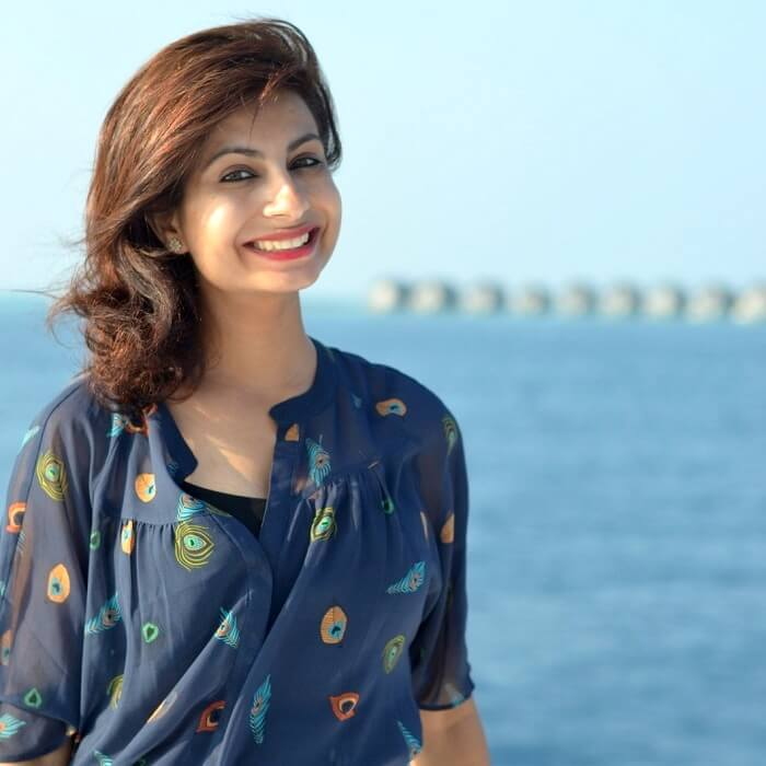 hemant's wife posing in maldives