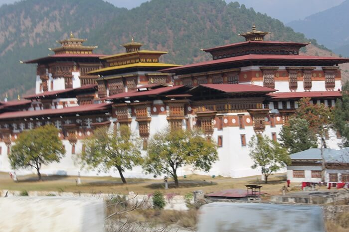 view of an old palace in Bhutan