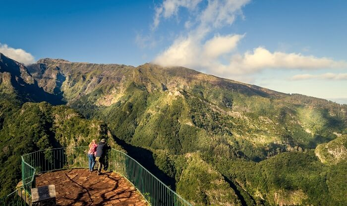 Couple at a viewpoint on madeira