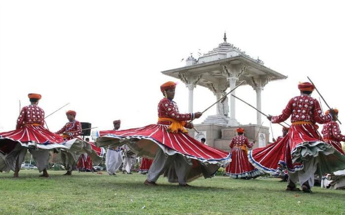Rajasthani men performing in Mount Abu