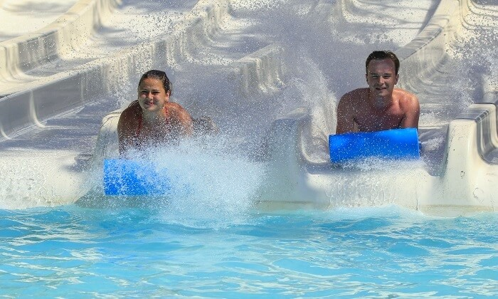 couple in water park rhodes