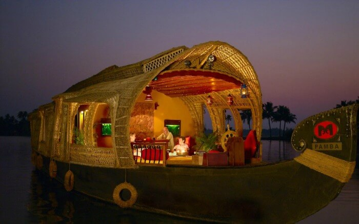 River Escape Houseboat in the Kerala backwaters at the time of sunset