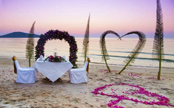 Romantic setting on a beach in Thailand