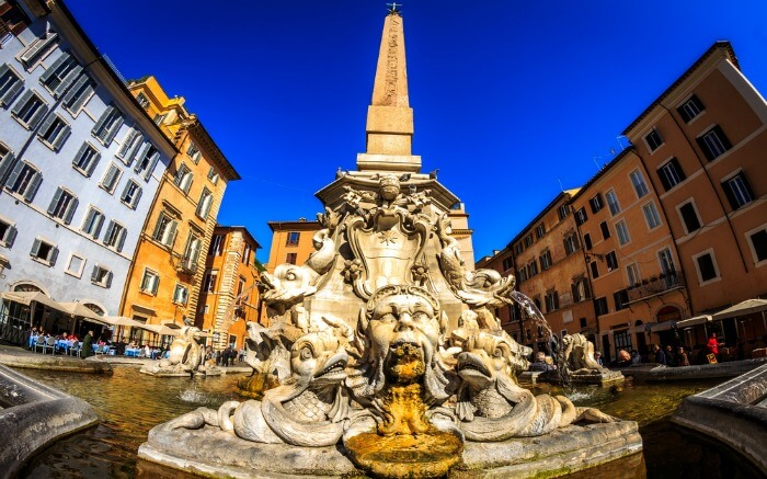 A fountain in Rome