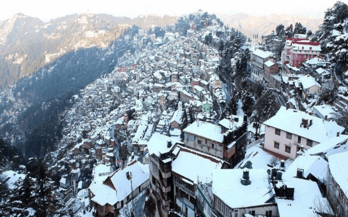 Top view of Shimla city all covered in snows