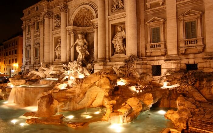 Trevi's Fountain illuminated during evening